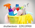 full box of cleaning supplies... | Shutterstock . vector #129119900