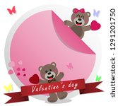 valentine's day concept  cute... | Shutterstock .eps vector #1291201750
