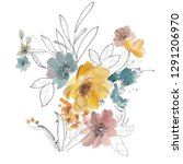 Stock photo watercolor art yellow floral pencil with large floral head 1291206970