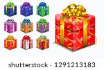 set of realistic gift box with... | Shutterstock .eps vector #1291213183
