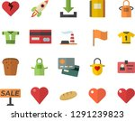 color flat icon set apron flat... | Shutterstock .eps vector #1291239823