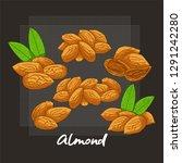 set of vector cartoon almonds ... | Shutterstock .eps vector #1291242280
