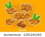 set of vector cartoon almonds ... | Shutterstock .eps vector #1291242283