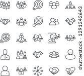 thin line icon set   handshake... | Shutterstock .eps vector #1291242643