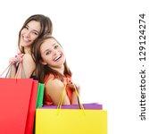 beautiful happy teen girls with ... | Shutterstock . vector #129124274