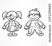 happy cartoon boy and girl on... | Shutterstock .eps vector #1291250683