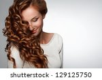 red hair. beautiful woman with... | Shutterstock . vector #129125750