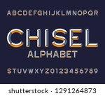 chisel alphabet font. type... | Shutterstock .eps vector #1291264873