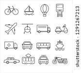 outline transportation icon set ... | Shutterstock .eps vector #1291267213