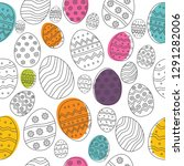 easter eggs composition hand... | Shutterstock .eps vector #1291282006