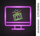 computer screen drums icon neon ... | Shutterstock .eps vector #1291283806