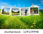 cycling outdoors collage   Shutterstock . vector #129129998