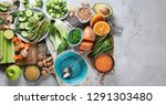 fresh healthy vegan and... | Shutterstock . vector #1291303480