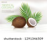 tropical coconut realistic... | Shutterstock .eps vector #1291346509