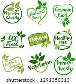organic food  farm fresh and... | Shutterstock .eps vector #1291350313