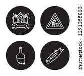 4 linear vector icon set   home ... | Shutterstock .eps vector #1291355833
