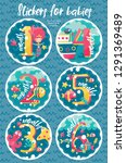 set of six marine stickers with ... | Shutterstock .eps vector #1291369489