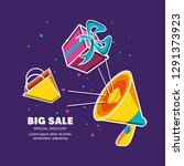big sale label with megaphone... | Shutterstock .eps vector #1291373923
