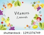 vitamins and minerals.... | Shutterstock .eps vector #1291376749