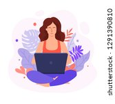 relaxes and meditates in the... | Shutterstock .eps vector #1291390810