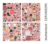 hand drawn fashion seamless... | Shutterstock .eps vector #1291403290