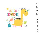 cheerful yellow dinosaur with a ...   Shutterstock .eps vector #1291416916