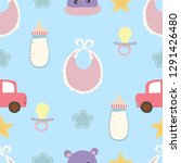 adorable blue seamless pattern... | Shutterstock .eps vector #1291426480