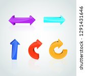 set of color arrows. 3d icon....   Shutterstock .eps vector #1291431646