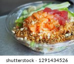 poke bowl with diced raw tuna... | Shutterstock . vector #1291434526