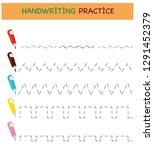 handwriting practice sheet.... | Shutterstock .eps vector #1291452379