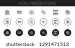 hollywood icons set. collection ... | Shutterstock .eps vector #1291471513