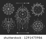 vector set of sacred geometric... | Shutterstock .eps vector #1291475986