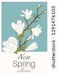 spring minimalist floral...   Shutterstock .eps vector #1291476103