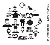 occupational icons set. simple... | Shutterstock .eps vector #1291492489