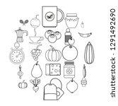 allowance icons set. outline... | Shutterstock .eps vector #1291492690