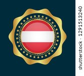gold emblem with austria flag.... | Shutterstock .eps vector #1291513240