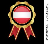 gold emblem with austria flag.... | Shutterstock .eps vector #1291513243