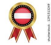 gold emblem with austria flag.... | Shutterstock .eps vector #1291513249