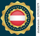 gold emblem with austria flag.... | Shutterstock .eps vector #1291513279