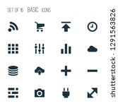 interface icons set with apps ...