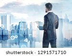 rear view of businessman with... | Shutterstock . vector #1291571710