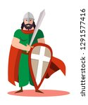 king warrior with sword and... | Shutterstock .eps vector #1291577416