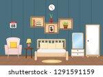 bedroom interior sleeping room... | Shutterstock .eps vector #1291591159
