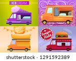 food truck banner set. cartoon... | Shutterstock .eps vector #1291592389