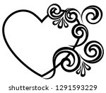 heart decorated with floral... | Shutterstock .eps vector #1291593229
