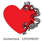 heart decorated with floral... | Shutterstock .eps vector #1291598359