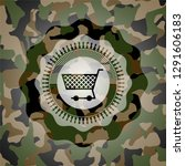 shopping cart icon on camo... | Shutterstock .eps vector #1291606183