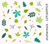 spring flowers and leaves set.... | Shutterstock .eps vector #1291609519