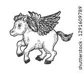 angel flying baby little pony... | Shutterstock .eps vector #1291609789