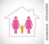 two lesbian woman adopt a boy... | Shutterstock .eps vector #1291610500